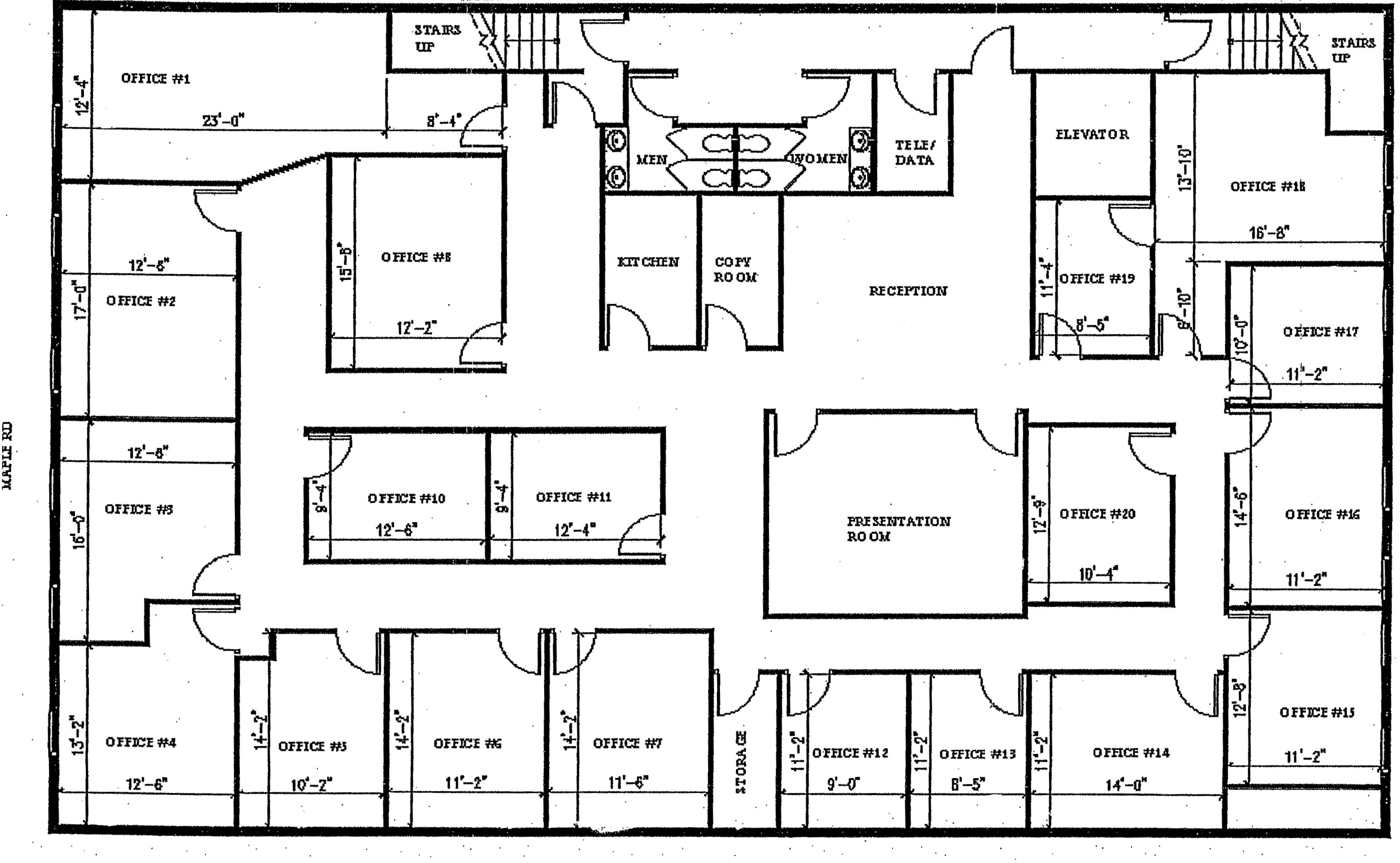 Offices on blueprint house sample floor plan